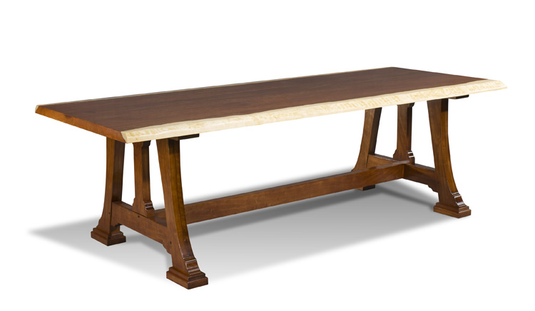 Natural Edge Dining Table With Steel Trestle Custom: A QUICK STUDY: Live-Edge Furniture