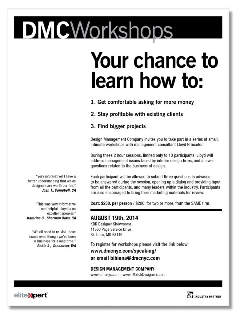 Design Management Company Workshops with Lloyd Princeton at KDR Designer Showrooms