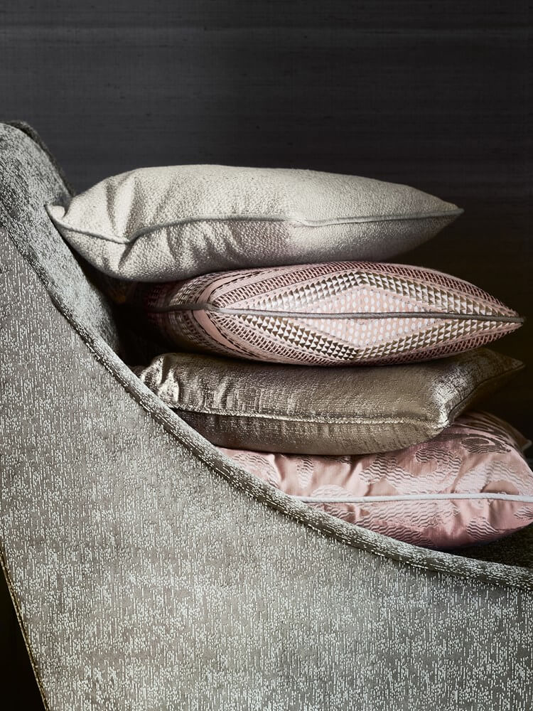 Metallic greys and blush fabrics from Jane Churchill