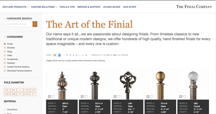 The Finial Company | Product Search | Custom Drapery Hardware - rods, finials, brackets and rings or window treatments.