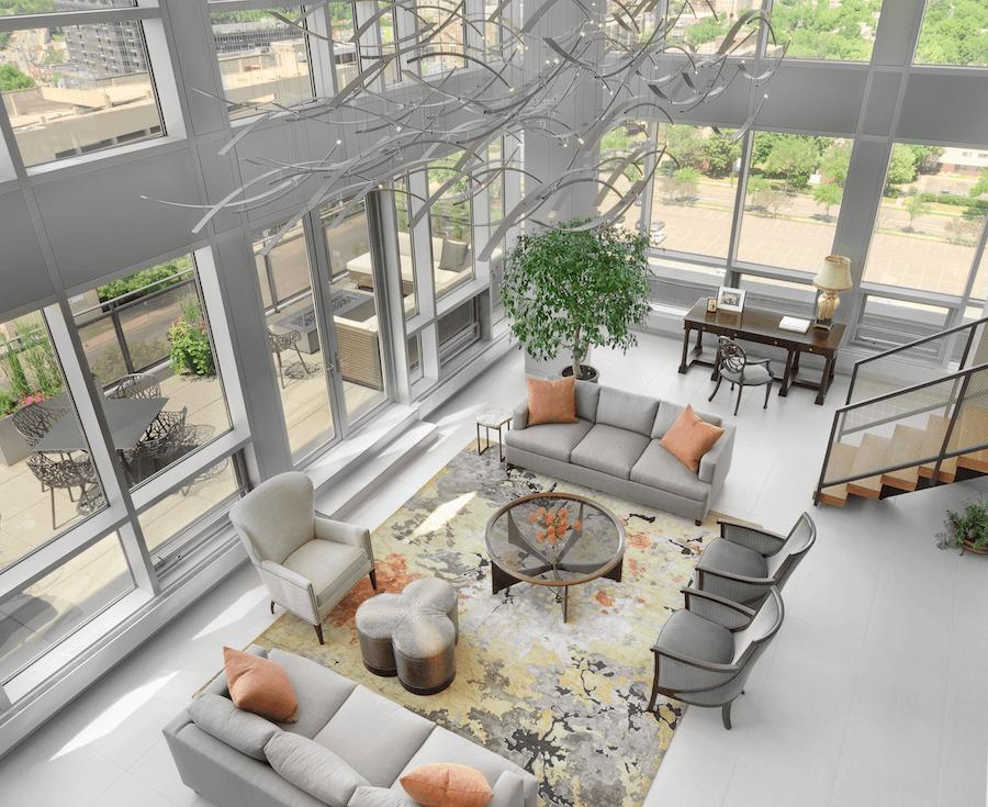 Minneapolis Penthouse Living Room by Castle Design