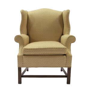 Traditional Beige Chippendale Style Wingback Chair