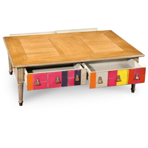 Grange Color Block Cocktail Table open drawers