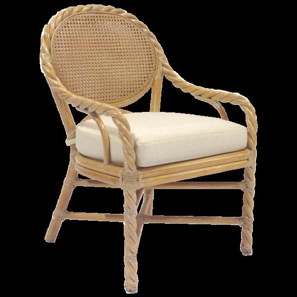 McGuire Rattan Twist Arm Chair