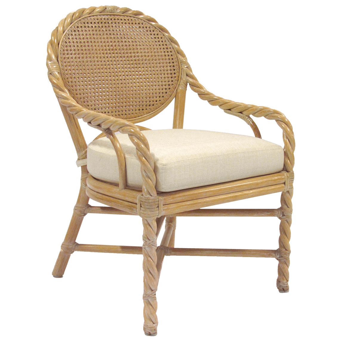 McGuire Rattan Twist Arm Chair