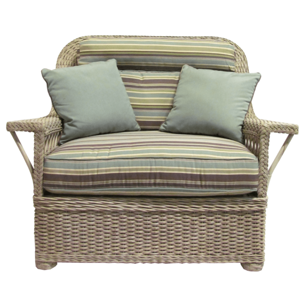 Ernest Hemingway Natural Wicker Cuddle Chair and Ottoman Set