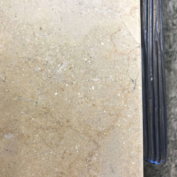 Thomas Pheasant Textured Bronze Side Table Stone Detail