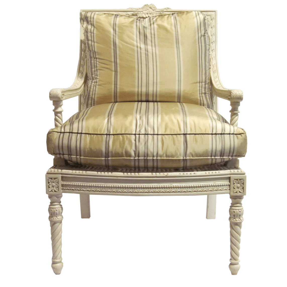 Louis XVI Style Square Back Arm Chair front view
