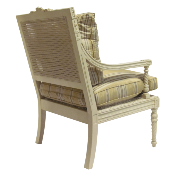 Louis XVI Style Square Back Arm Chair side rear image