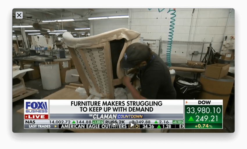 FOX BUSINESS NEWS Segment 5 - Hickory Chair shares challenges of lumber, petroleum based and labor shortages the furniture and design industry are facing.