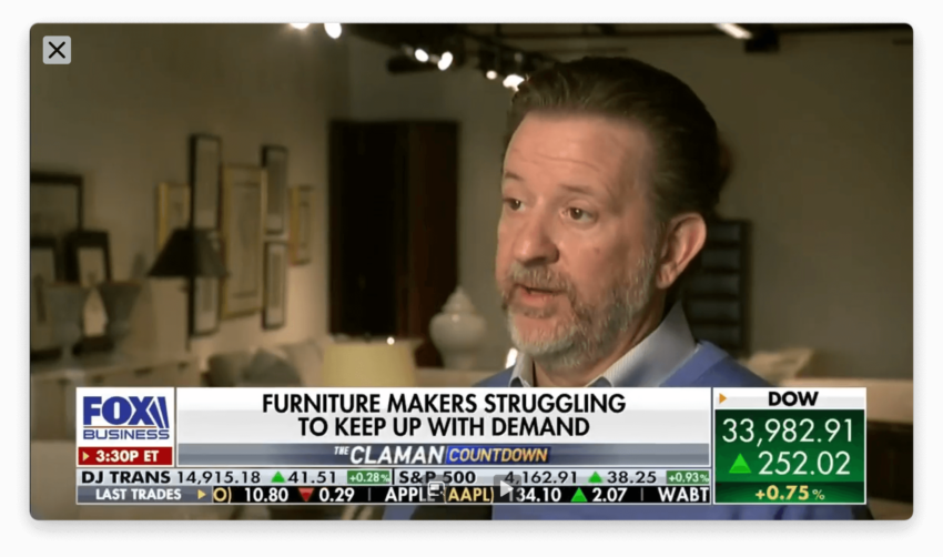FOX NEWS Segment 4 - Kevin Bowman president of Hickory Chair speaks with Grady Trimble of FOX News and FOX Business about the challenges and shortages from Covid-19 and the terrible winter storm that impacted refineries in Texas and Louisiana that has impacted the furniture and design industry.