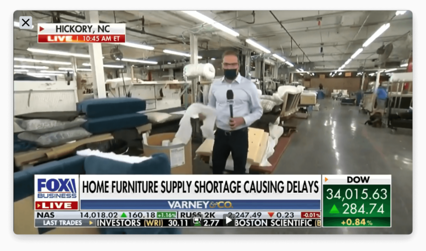 FOX BUSINESS NEWS Segment 3 - Continuing coverage to the challenges to not only Hickory Chair but also to the entire furniture and design industry.